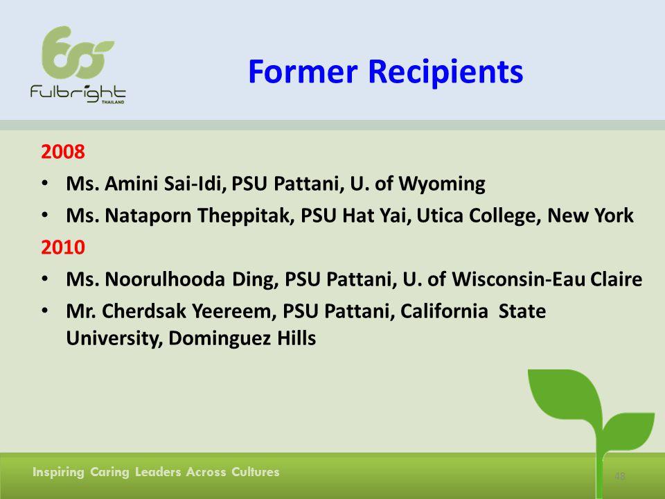 Former Recipients 2008 Ms. Amini Sai-Idi, PSU Pattani, U. of Wyoming