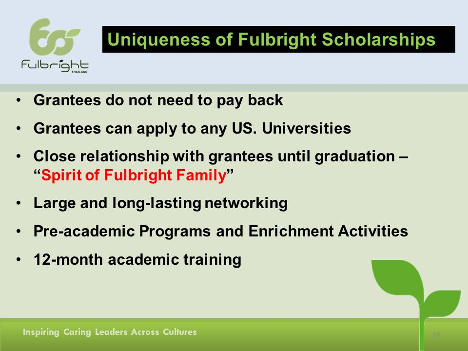 Uniqueness of Fulbright Scholarships