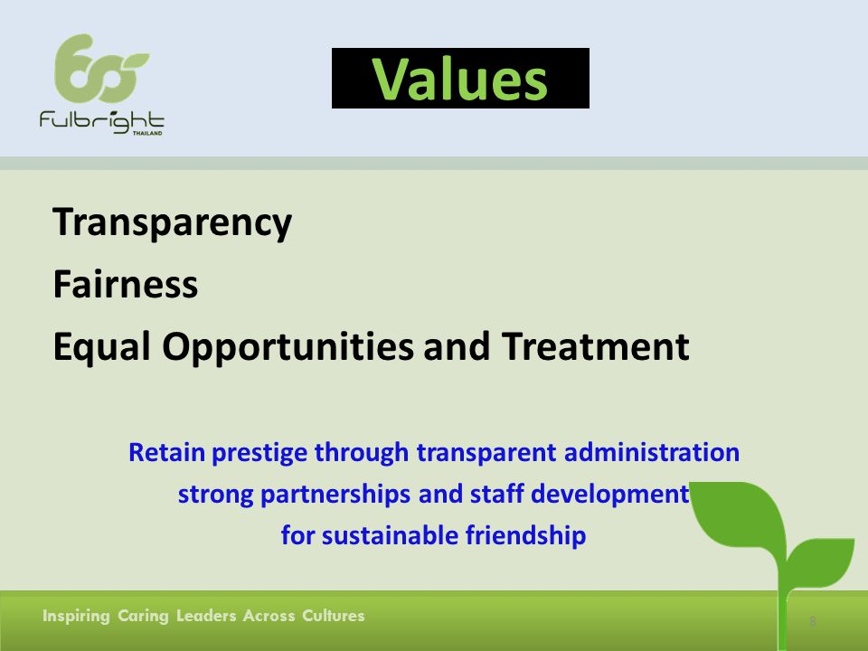 Values Transparency Fairness Equal Opportunities and Treatment