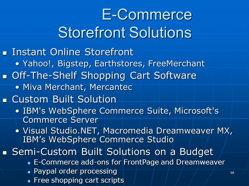 E-Commerce Storefront Solutions