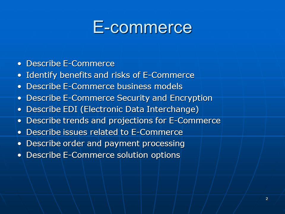 E-commerce Describe E-Commerce