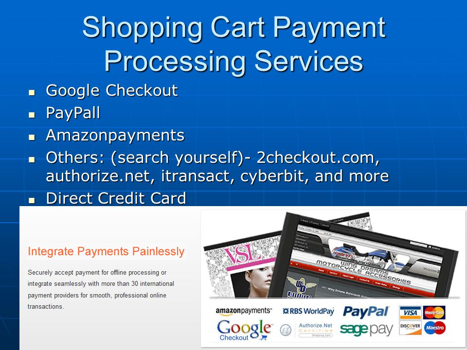Shopping Cart Payment Processing Services