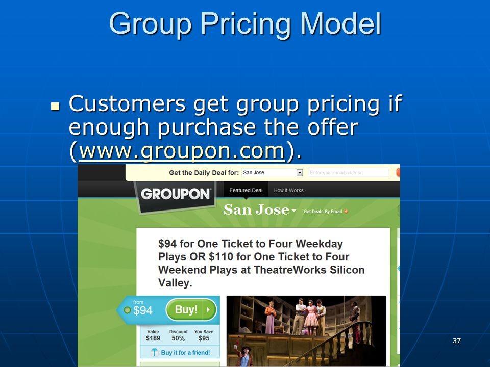 Group Pricing Model Customers get group pricing if enough purchase the offer (www.groupon.com).