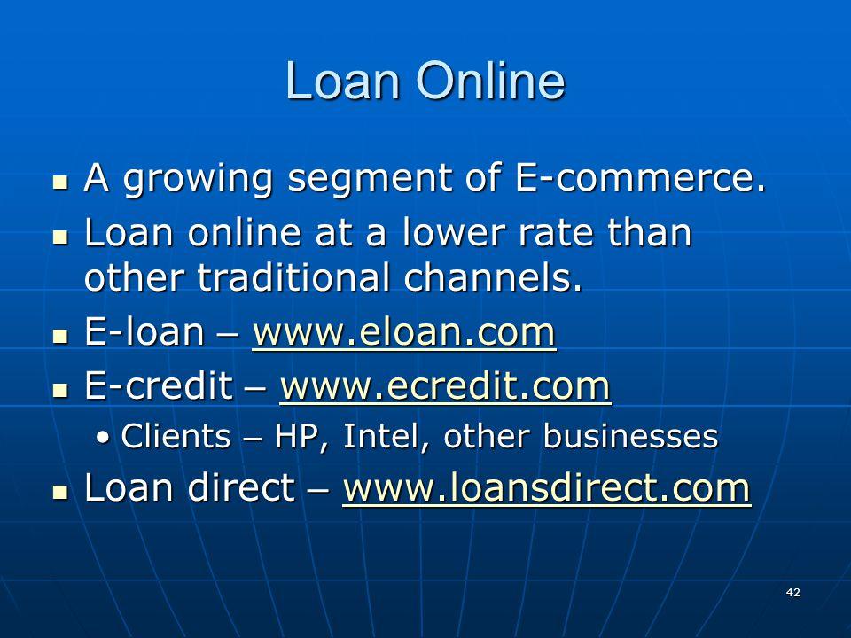 Loan Online A growing segment of E-commerce.