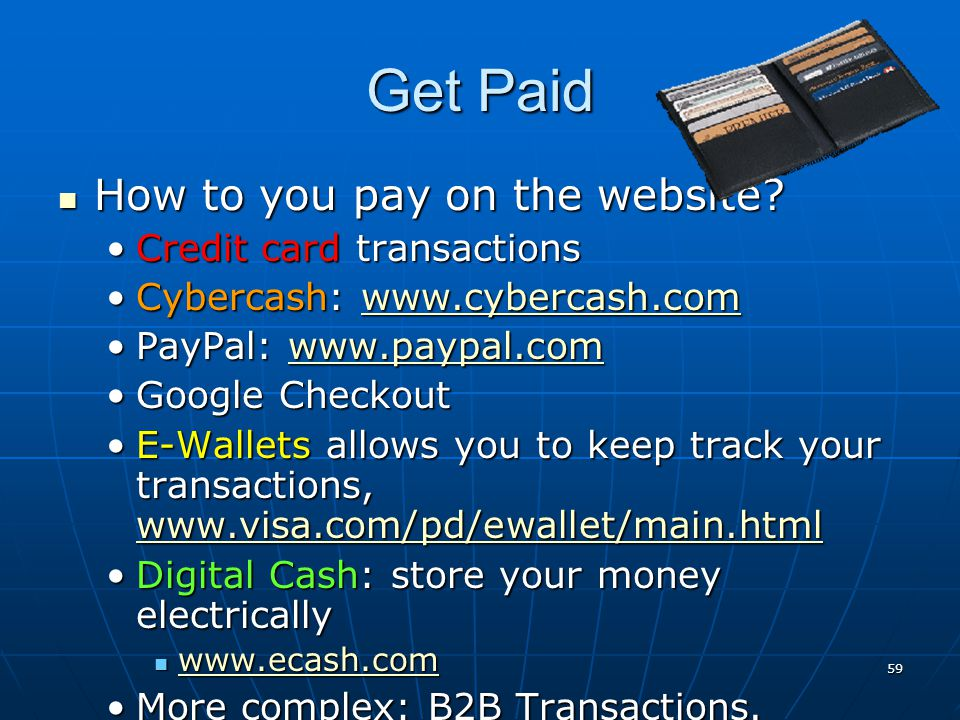 Get Paid How to you pay on the website Credit card transactions