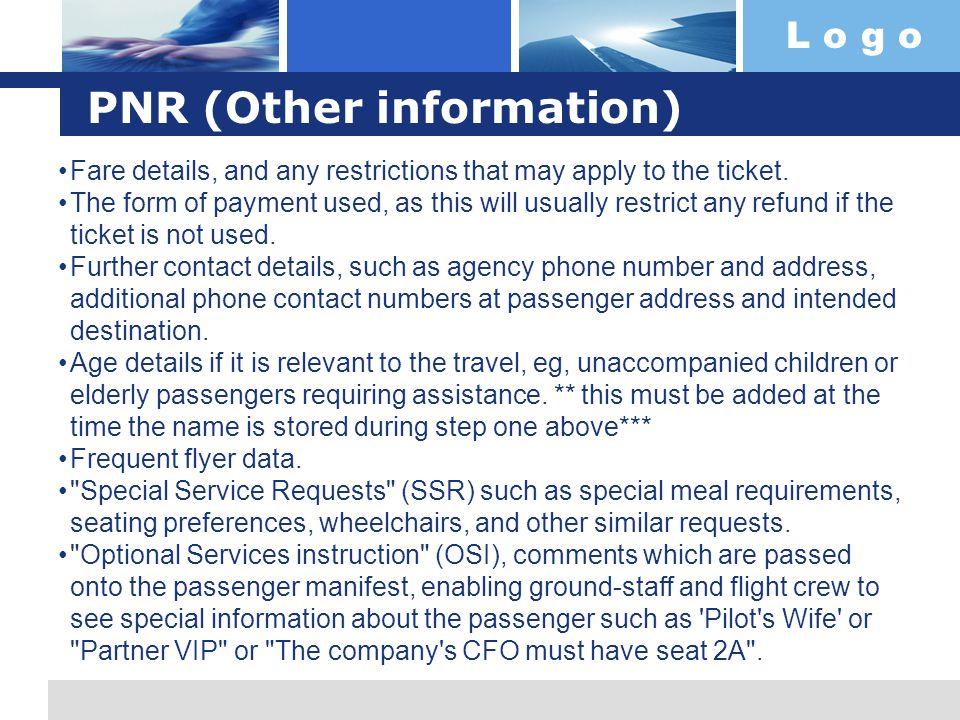 PNR (Other information)