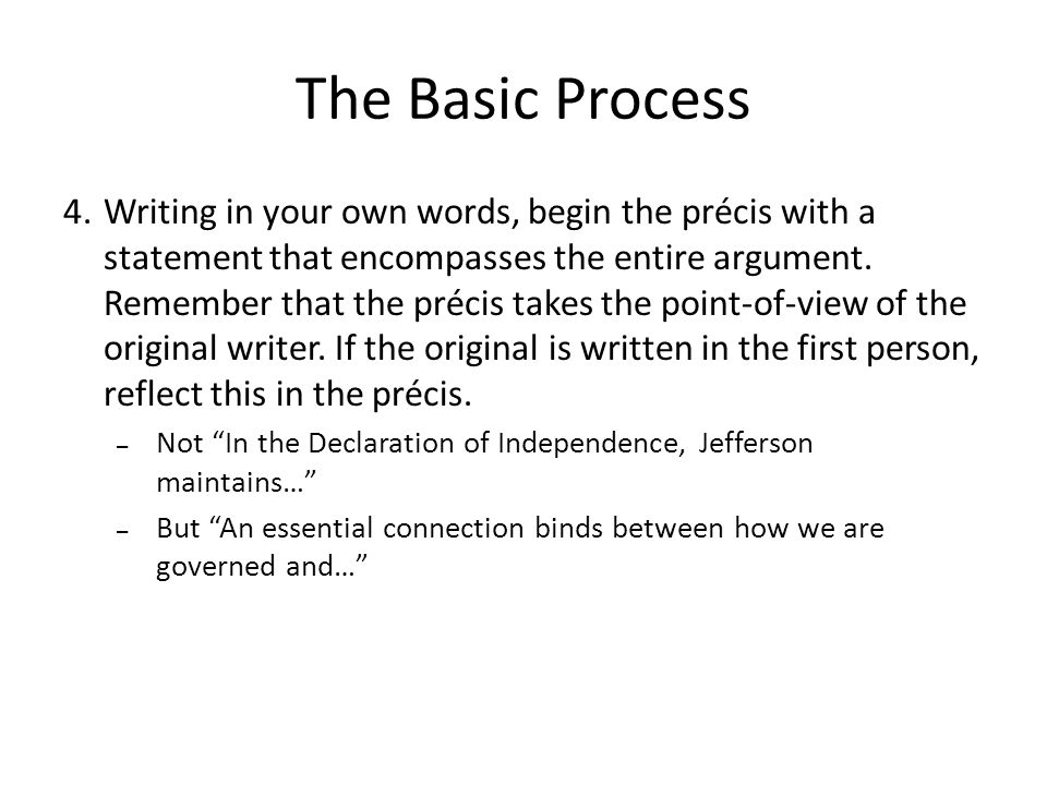 The Basic Process