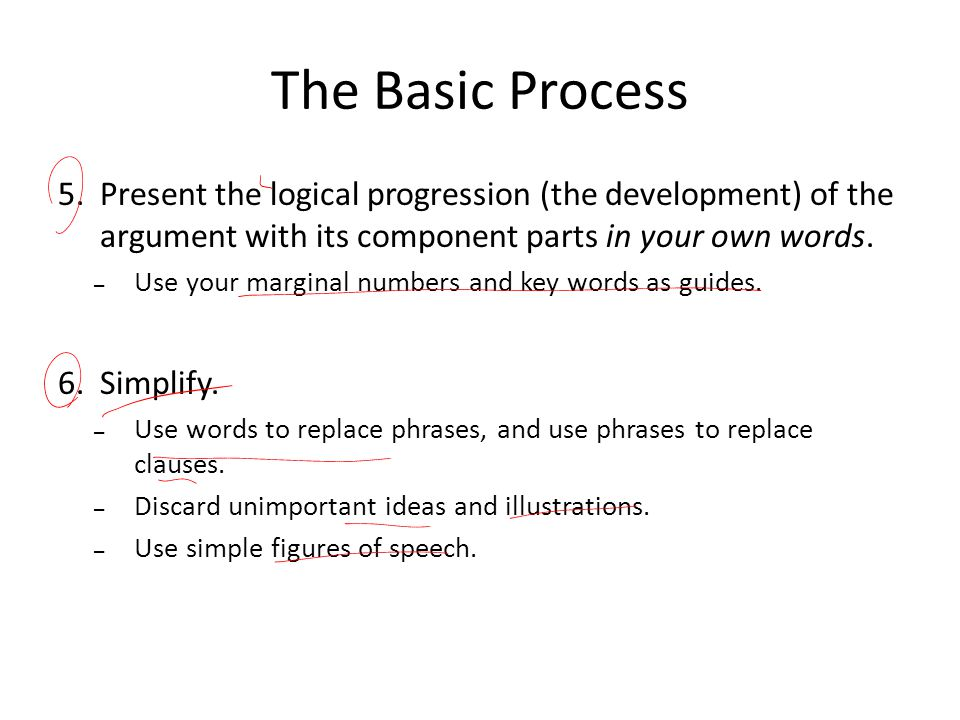 The Basic Process Present the logical progression (the development) of the argument with its component parts in your own words.