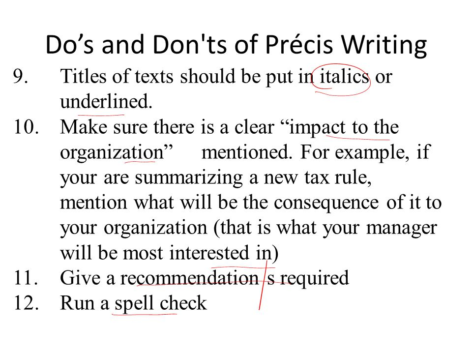 Do's and Don ts of Précis Writing