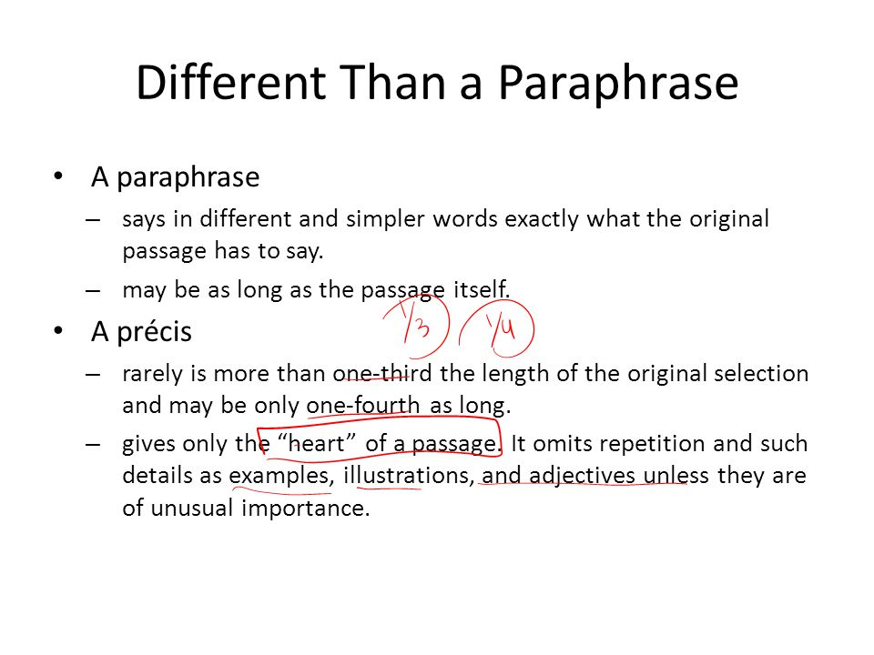 Paraphrase different words