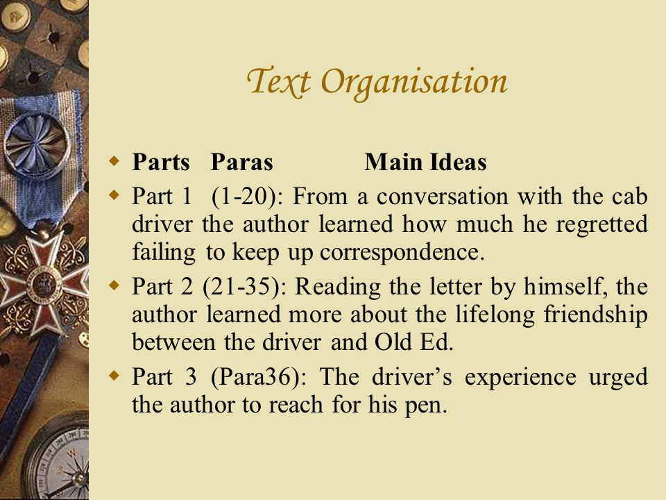 Text Organisation Parts Paras Main Ideas