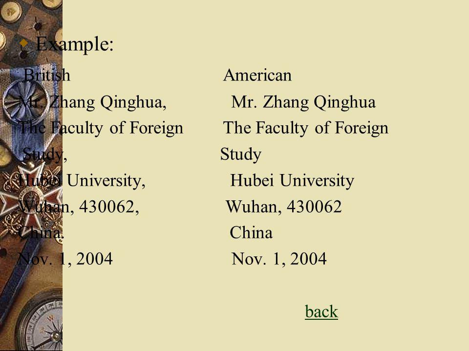 Example: British American Mr. Zhang Qinghua, Mr. Zhang Qinghua