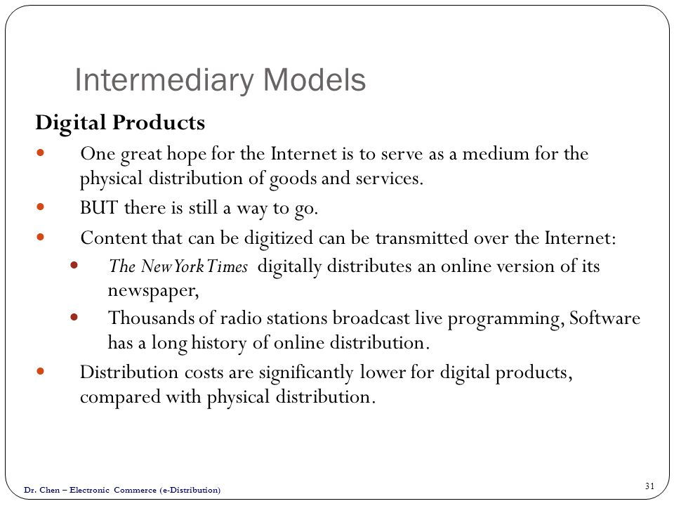 Intermediary Models Digital Products