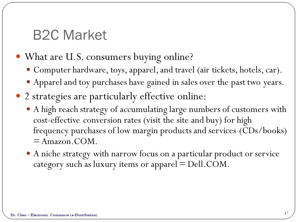 B2C Market What are U.S. consumers buying online