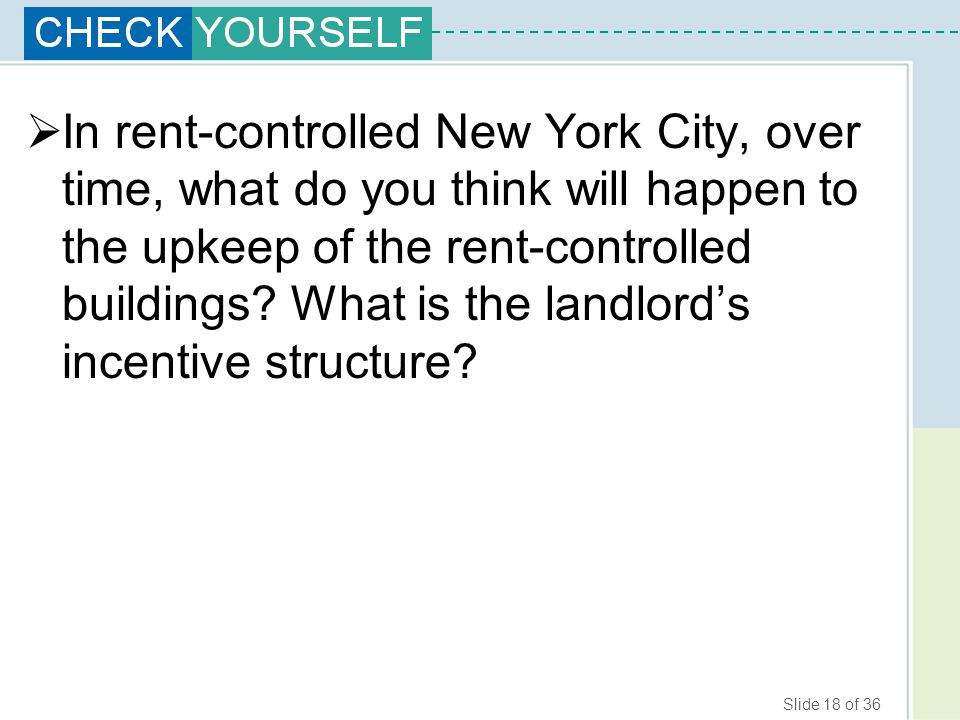 In rent-controlled New York City, over time, what do you think will happen to the upkeep of the rent-controlled buildings.