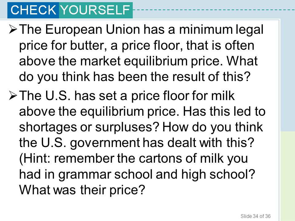 The European Union has a minimum legal price for butter, a price floor, that is often above the market equilibrium price. What do you think has been the result of this