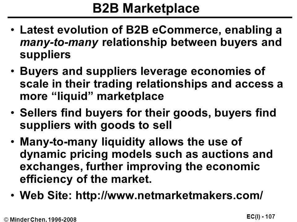 B2B Marketplace Latest evolution of B2B eCommerce, enabling a many-to-many relationship between buyers and suppliers.