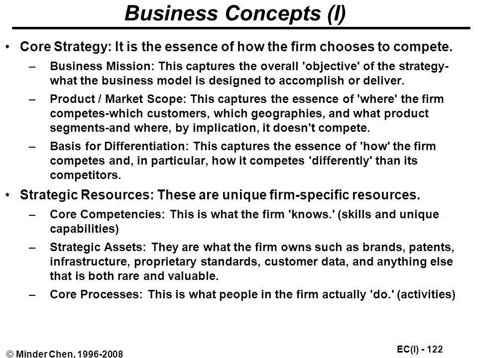 Business Concepts (I) Core Strategy: It is the essence of how the firm chooses to compete.