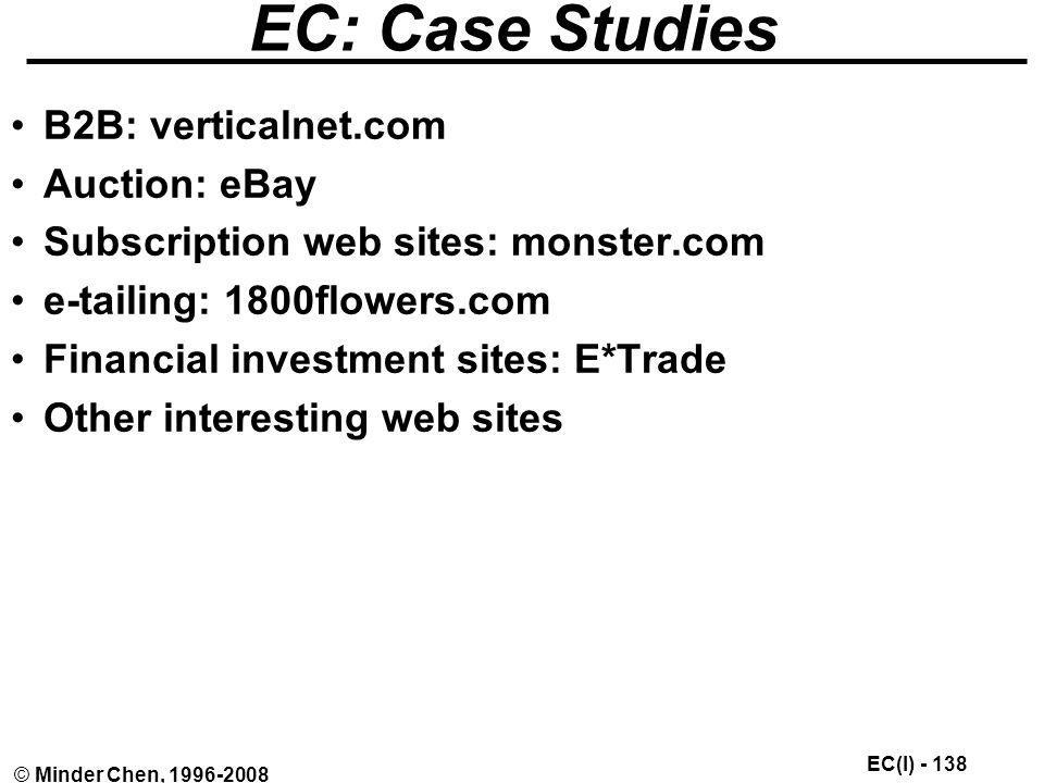 EC: Case Studies B2B: verticalnet.com Auction: eBay