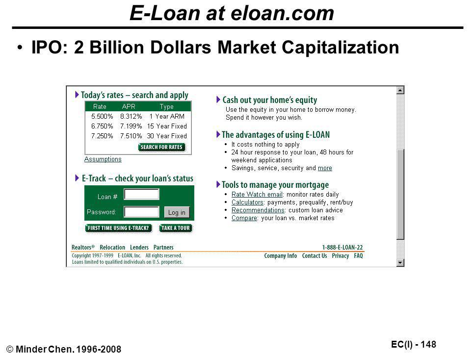 E-Loan at eloan.com IPO: 2 Billion Dollars Market Capitalization