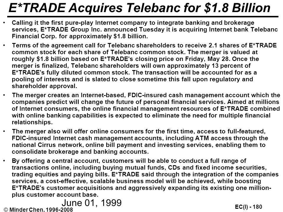 E*TRADE Acquires Telebanc for $1.8 Billion