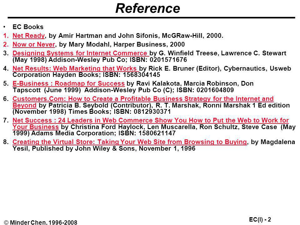 Reference EC Books Net Ready, by Amir Hartman and John Sifonis, McGRaw-Hill, 2000. Now or Never, by Mary Modahl, Harper Business, 2000.