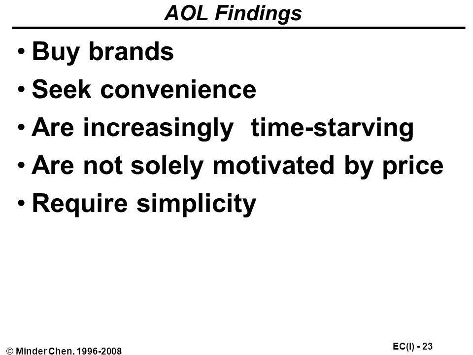 Are increasingly time-starving Are not solely motivated by price
