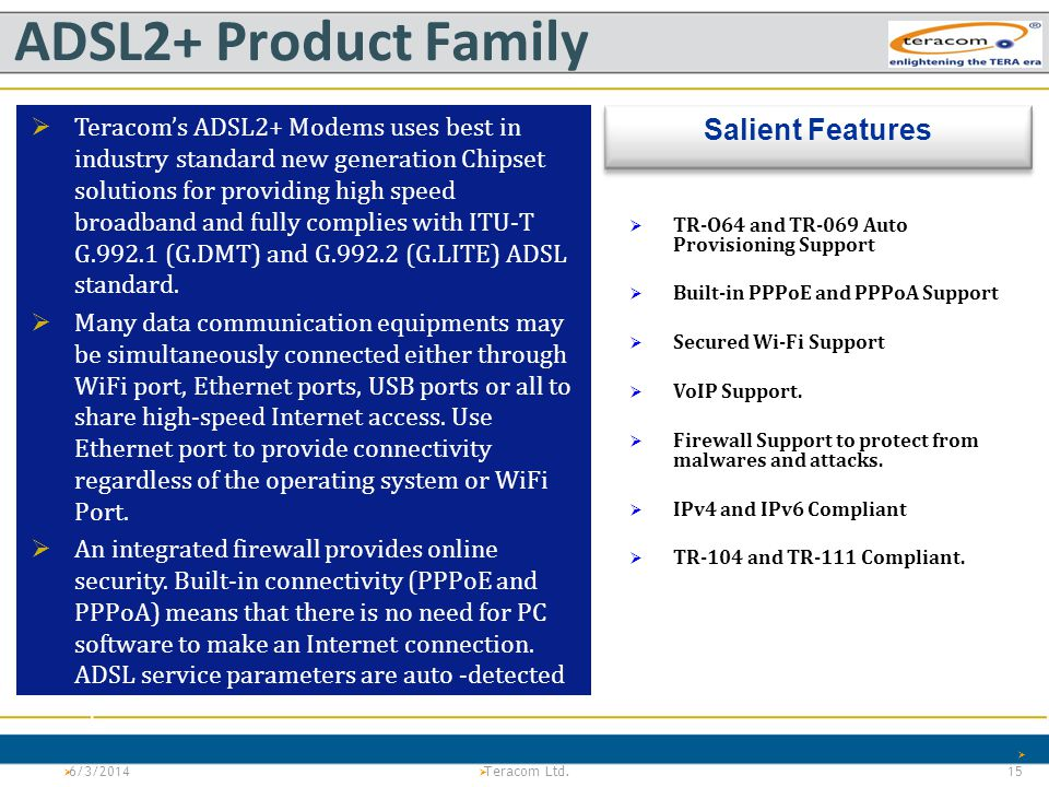 ADSL2+ Product Family Salient Features