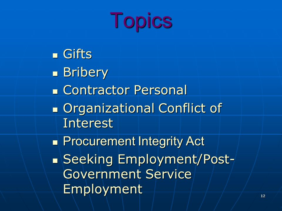 Topics Gifts Bribery Contractor Personal