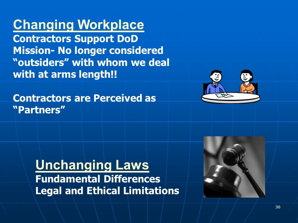 Changing Workplace Unchanging Laws Contractors Support DoD