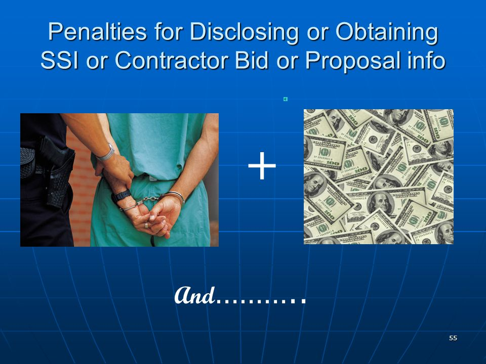 Penalties for Disclosing or Obtaining SSI or Contractor Bid or Proposal info