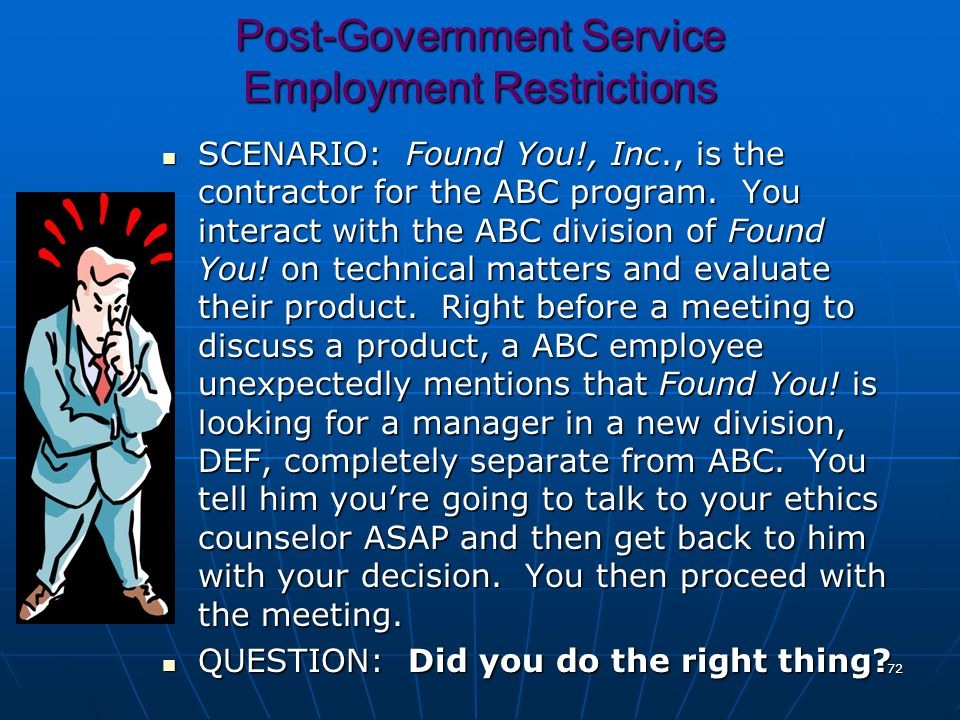 Post-Government Service Employment Restrictions