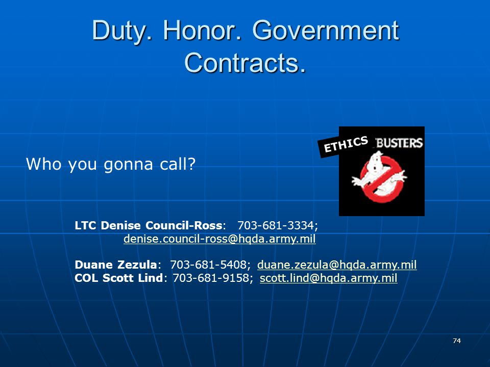 Duty. Honor. Government Contracts.