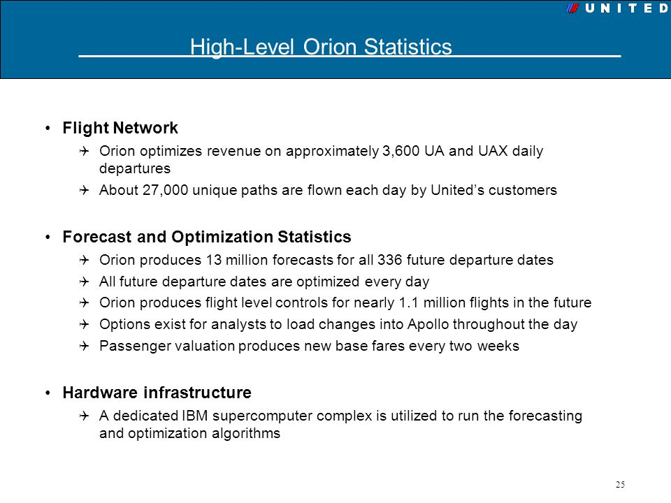High-Level Orion Statistics