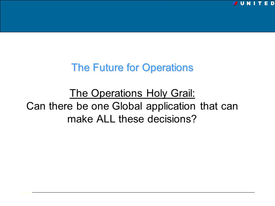 The Future for Operations The Operations Holy Grail: Can there be one Global application that can make ALL these decisions