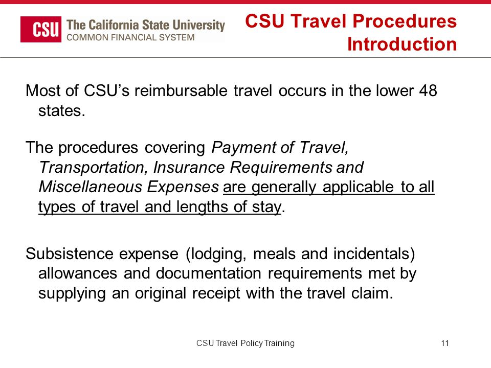 CSU Travel Procedures Introduction