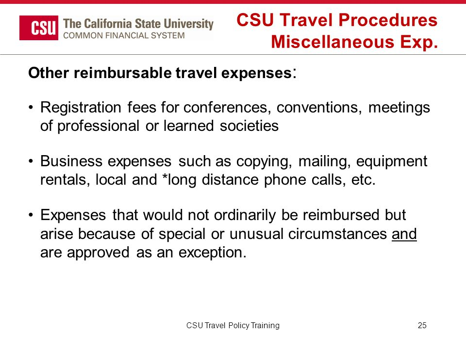 CSU Travel Procedures Miscellaneous Exp.