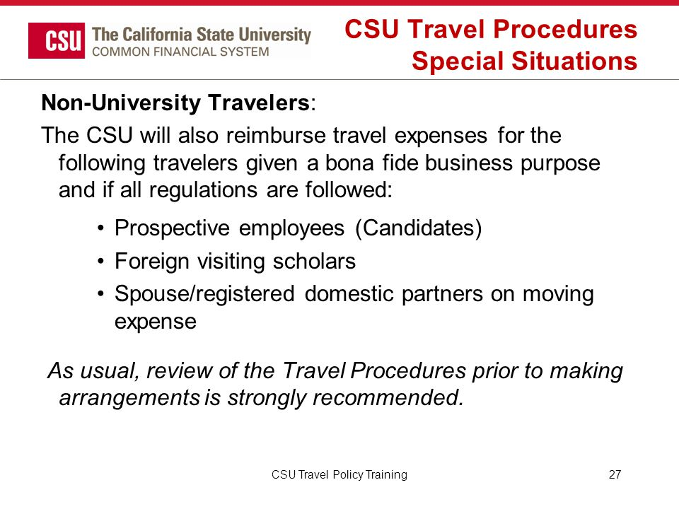 CSU Travel Procedures Special Situations