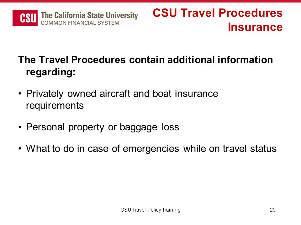 CSU Travel Procedures Insurance