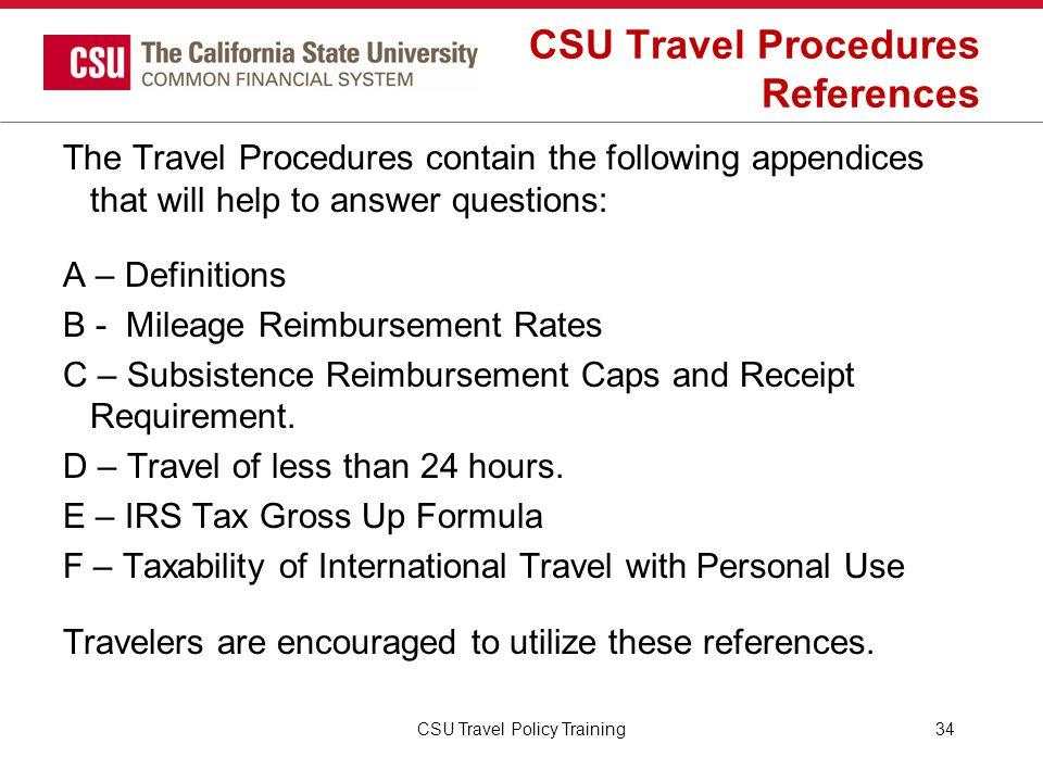 CSU Travel Procedures References