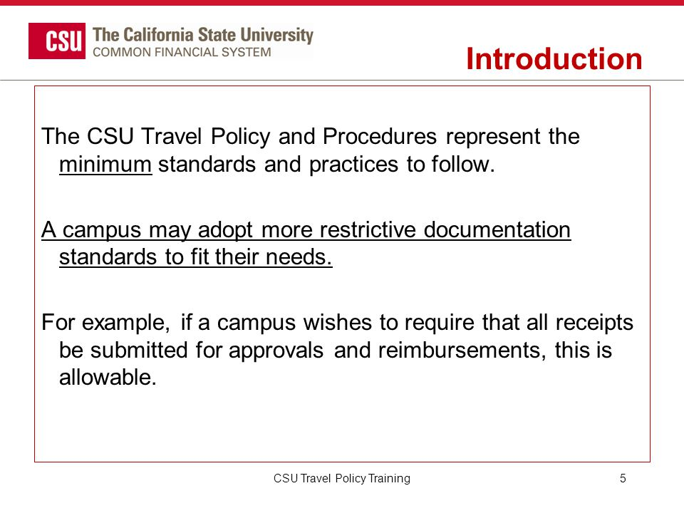 CSU Travel Policy Training