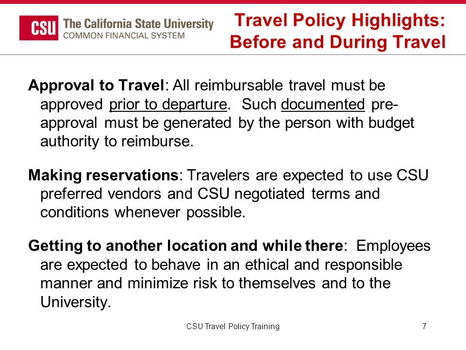 Travel Policy Highlights: Before and During Travel