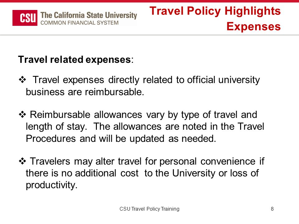 Travel Policy Highlights Expenses