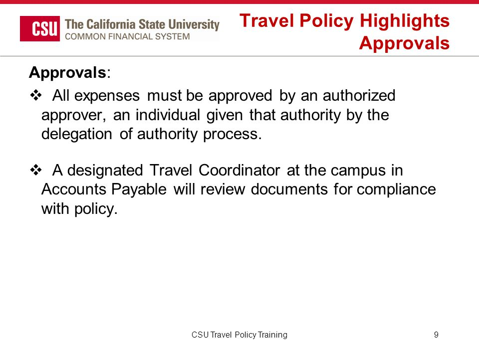 Travel Policy Highlights Approvals