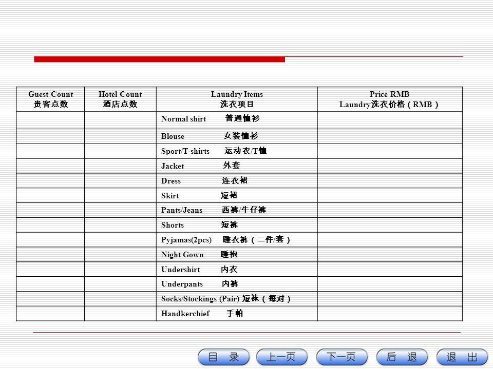 Guest Count 贵客点数. Hotel Count. 酒店点数. Laundry Items. 洗衣项目. Price RMB. Laundry洗衣价格(RMB) Normal shirt 普通恤衫.