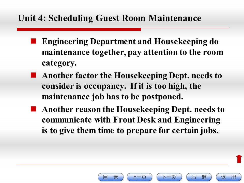Unit 4: Scheduling Guest Room Maintenance