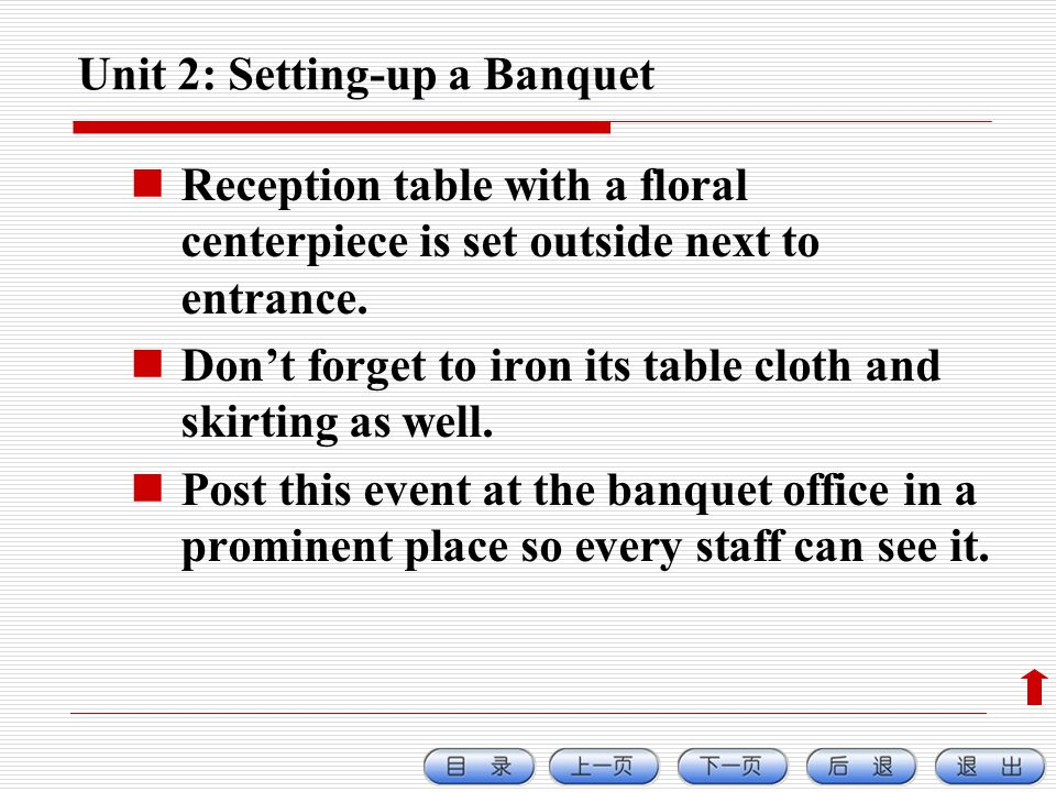 Unit 2: Setting-up a Banquet