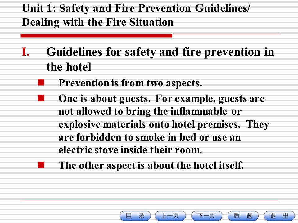 Guidelines for safety and fire prevention in the hotel