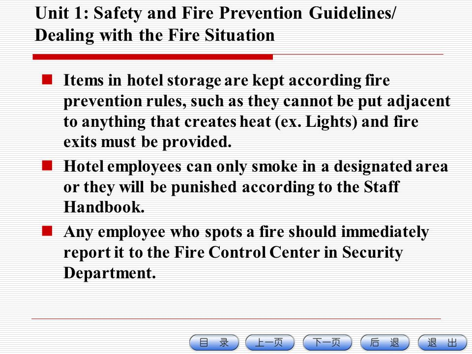 Unit 1: Safety and Fire Prevention Guidelines/ Dealing with the Fire Situation