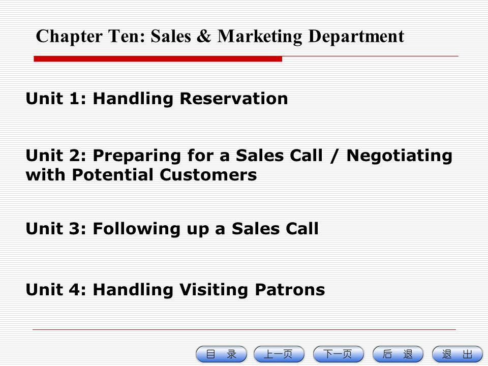 Chapter Ten: Sales & Marketing Department